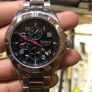 Men's armitron watch silver red